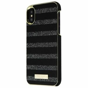 Kate Spade Glitter Stripe Black Saffiano Wrap Case